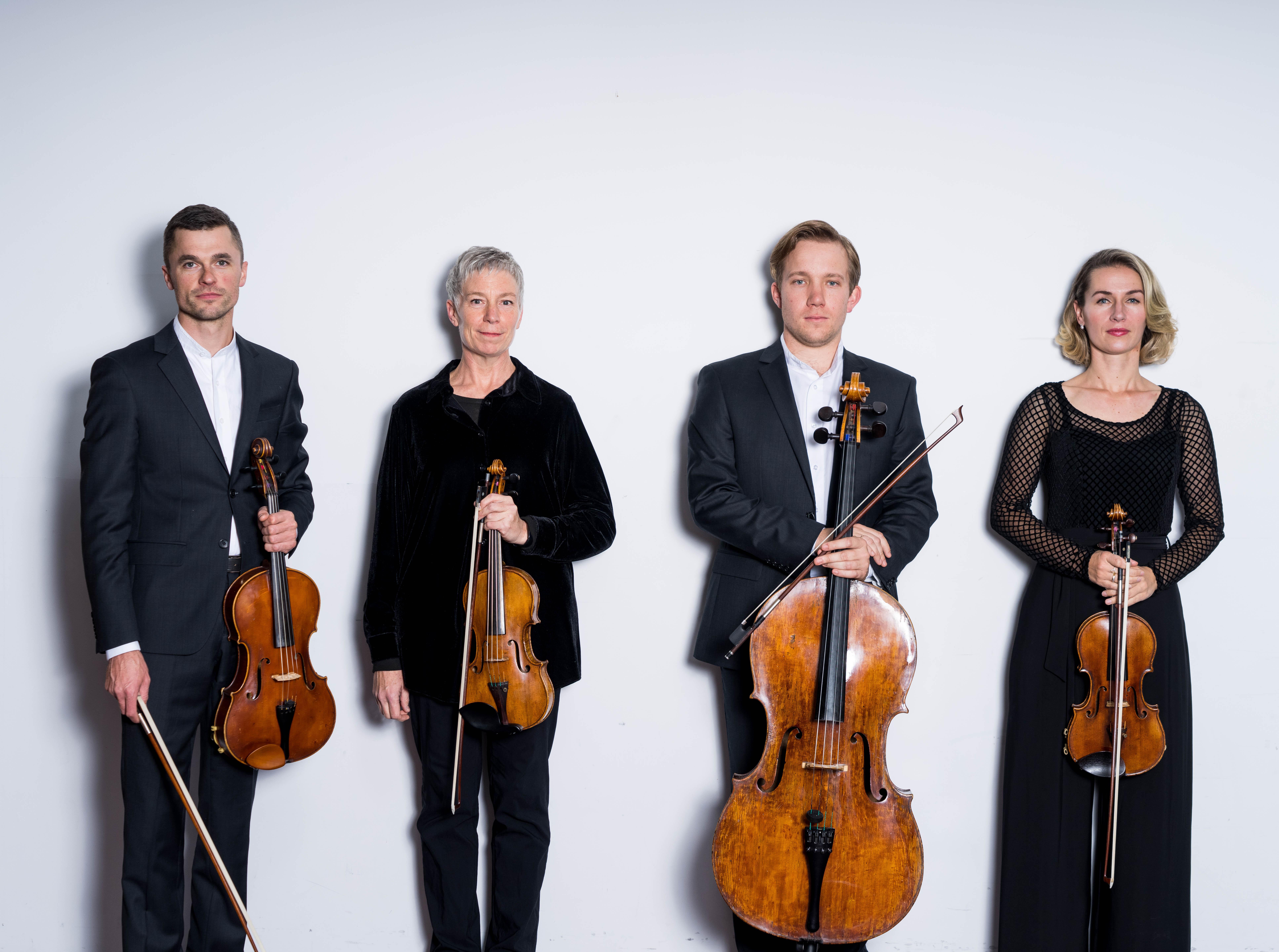 Tasmanian String Quartet musicians, L to R: Doug Coghill (viola); Jennifer Owen (violin); Jonathan Békés (cello) and Emma McGrath (violin).